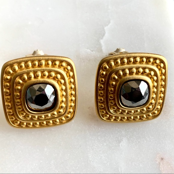 1980s Gold and Magenta Clip On Earrings Vintage Gold and Pink Earrings